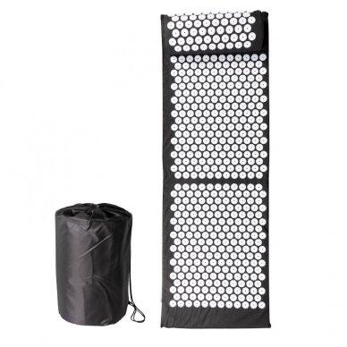 Akupresūros masažinis kilimėlis 130x43cm + Akupresūros masažinė pagalvė BLACK (1) 2