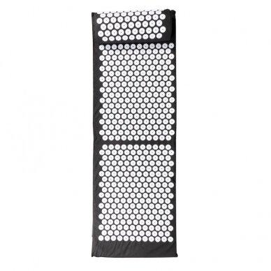 Akupresūros masažinis kilimėlis 130x43cm + Akupresūros masažinė pagalvė BLACK (1) 3