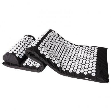 Akupresūros masažinis kilimėlis 130x43cm + Akupresūros masažinė pagalvė BLACK (1) 5