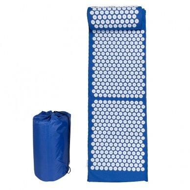 Akupresūros masažinis kilimėlis 130x43cm + Akupresūros masažinė pagalvė BLUE (1) 2