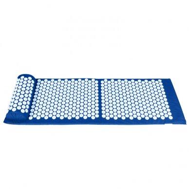 Akupresūros masažinis kilimėlis 130x43cm + Akupresūros masažinė pagalvė BLUE (1) 4