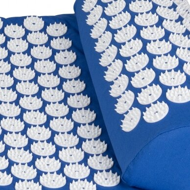 Akupresūros masažinis kilimėlis 130x43cm + Akupresūros masažinė pagalvė BLUE (1) 5