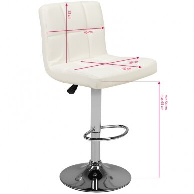 Baro kėdė TERRAIN ECO LEATHER CHROME WHITE 5