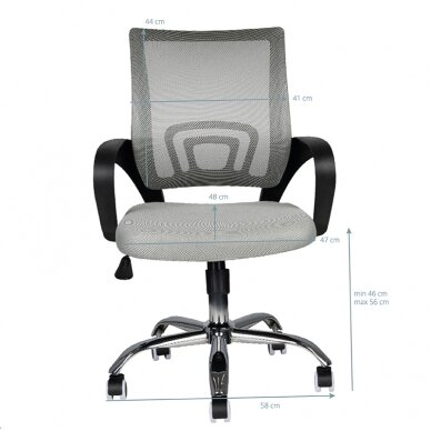 Biuro kėdė ant ratukų OFFICE CHAIR ECO COMFORT BLACK/GRAY 5