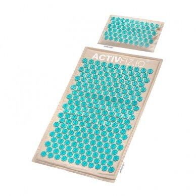 Akupresūros masažinis kilimėlis 70x42cm + Akupresūros masažinė pagalvė 39x25cm PREMIUM BEIGE 2