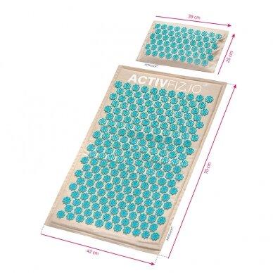Akupresūras masāžas paklājs 70x42cm + Akupresūras masāžas spilvens 39x25cm PREMIUM BEIGE 8