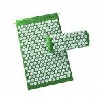 Akupresūros masažinis kilimėlis 40X60cm GREEN + Akupresūros masažinė pagalvė GREEN