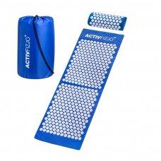 Akupresūros masažinis kilimėlis 130x43cm + Akupresūros masažinė pagalvė BLUE