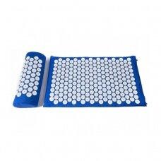 Akupresūros masažinis kilimėlis 40X60cm BLUE + Akupresūros masažinė pagalvė BLUE