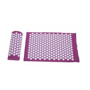 Akupresūros masažinis kilimėlis 40X60cm DARK PINK + Akupresūros masažinė pagalvė DARK PINK