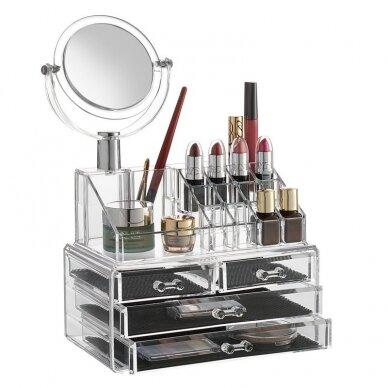 Kosmetikos priemonių dėžutė su stalčiais ir veidrodžiu 2