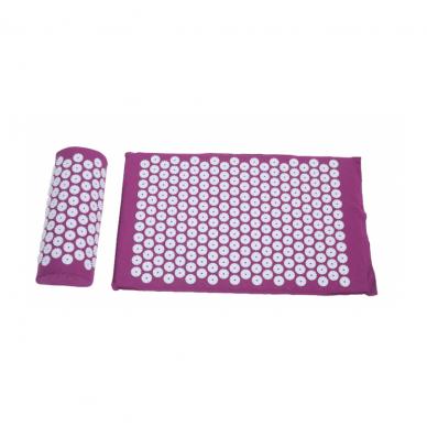 Akupresūras masāžas paklājs 40X60cm DARK PINK + Akupresūras masāžas spilvens DARK PINK