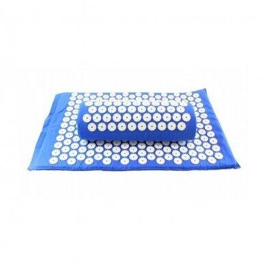 Akupresūros masažinis kilimėlis 40X60cm BLUE + Akupresūros masažinė pagalvė BLUE 2