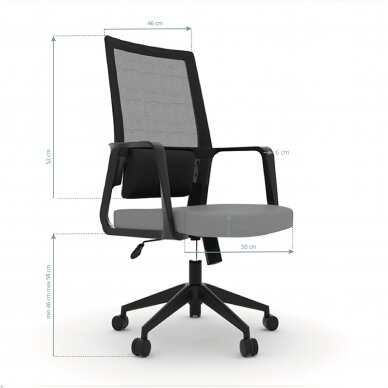Kontoritool ratastel OFFICE CHAIR COMFORT BLACK/GRAY 2