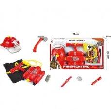 Kiivri ja tulekustutiga tuletõrjujate komplekt