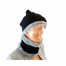 Kepurė, šalikas (rinkinys) UNISEX SET BLACK