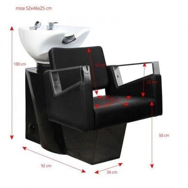 Juuksuri valamu GABBIANO PROFESSIONAL HAIRWASHER BLACK BASE BLACK SEAT 3