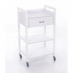 Kosmetologinis daugiaaukštis vežimėlis (2 lentynos + 1 stalčius)