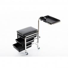 Pedikīra krēsls ar plauktiem un kāju balstu