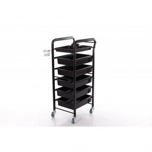 Kosmetologinis vežimėlis su laikikliais (5 stalčių)