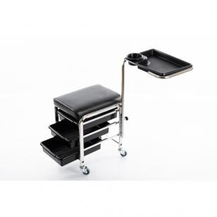 Pedikiūro vežimėlis - kėdutė (3 stalčiai + lentynėlė ant laikiklio)