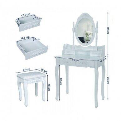 Kosmetinis staliukas su veidrodžiu + kėdutė ELEGANTE 2