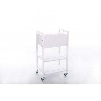 Kosmetologinis daugiaaukštis vežimėlis (2 lentynos + 1 stalčius) 3