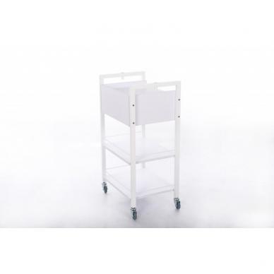 Kosmetologinis daugiaaukštis vežimėlis (2 lentynos + 1 stalčius) 2