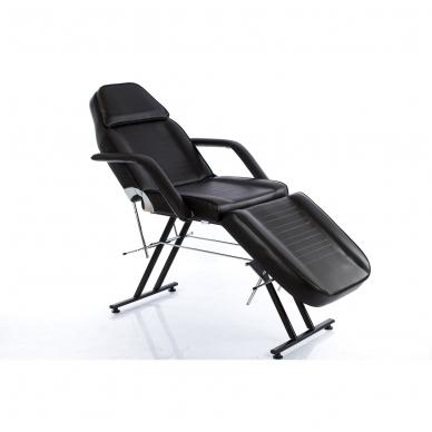 Kosmetologinis krėslas su vientisa kojų dalimi (juodas)