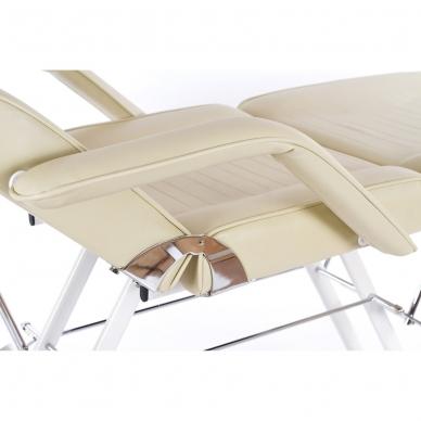 Kosmetologinis krėslas su vientisa kojų dalimi (kreminis) 11