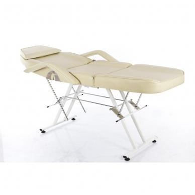 Kosmetologinis krėslas su vientisa kojų dalimi (kreminis) 3