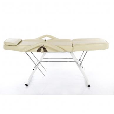 Kosmetologinis krėslas su vientisa kojų dalimi (kreminis) 4