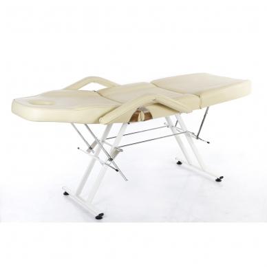 Kosmetologinis krėslas su vientisa kojų dalimi (kreminis) 5