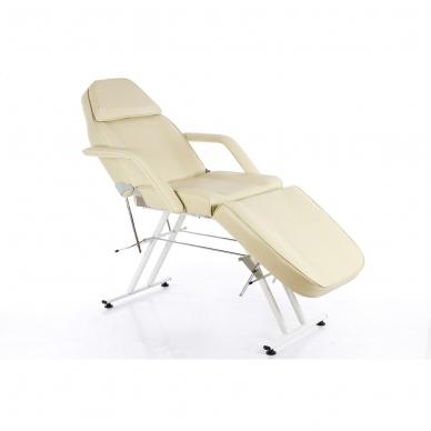 Kosmetologinis krėslas su vientisa kojų dalimi (kreminis)