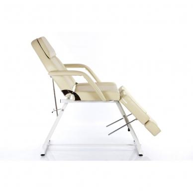 Kosmetologinis krėslas su atskirai reguliuojamomis kojų dalimis  (kreminis) 3