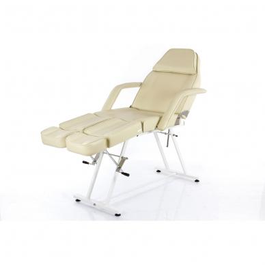Kosmetologinis krėslas su atskirai reguliuojamomis kojų dalimis  (kreminis) 9