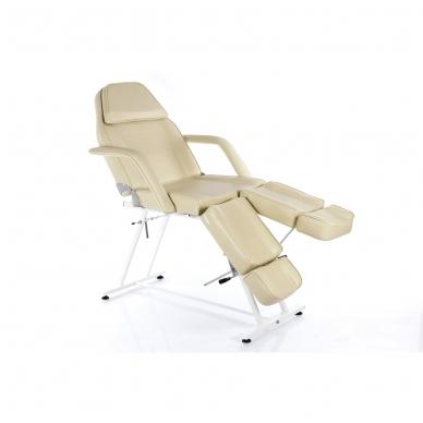 Kosmetologinis krėslas su atskiromis kojų dalimis (kreminis)