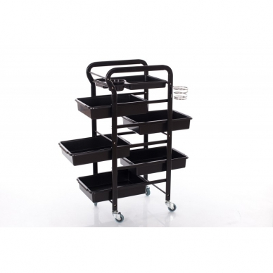 Kosmetologinis vežimėlis su laikikliais (5 stalčių) 3