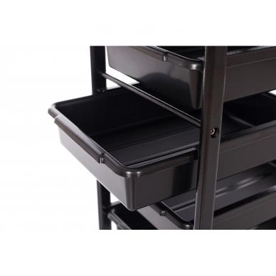 Kosmetologinis vežimėlis su laikikliais (5 stalčių) 5