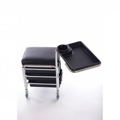 Kosmetologinis vežimėlis - kėdutė (3 stalčiai + lentynėlė ant laikiklio) 2