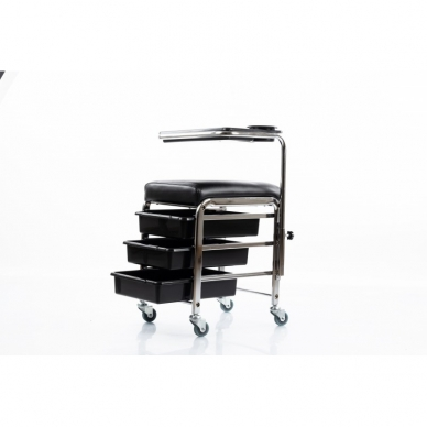 Kosmetologinis vežimėlis - kėdutė (3 stalčiai + lentynėlė ant laikiklio) 3