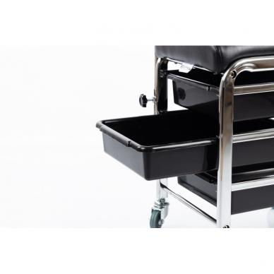 Kosmetologinis vežimėlis - kėdutė (3 stalčiai + lentynėlė ant laikiklio) 5