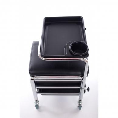 Kosmetologinis vežimėlis - kėdutė (3 stalčiai + lentynėlė ant laikiklio) 6