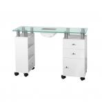 Manikiūro stalas su dulkių surinkėju GLASS WHITE