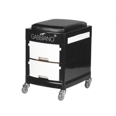 Pedikiūro vežimėlis - kėdutė HELPER PEDICURE STOOL 2 BLACK/WHITE