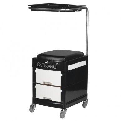 Pedikiūro vežimėlis - kėdutė HELPER PEDICURE STOOL BLACK/WHITE (1)