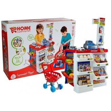 Tirdzniecības centrs ar iepirkumu grozu bērniem