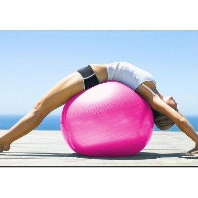 Rožinis gimnastikos kamuolys su pompa, 75 cm. 2
