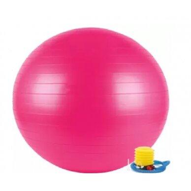 Rožinis gimnastikos kamuolys su pompa, 75 cm.
