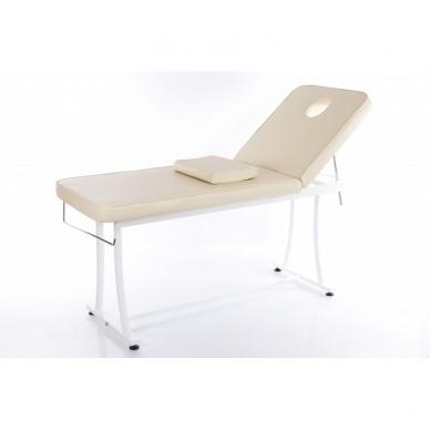Stacionarus masažo stalas plieniniu rėmu (kreminis) 2